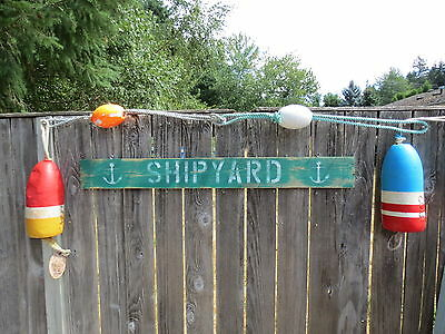 48 Inch Wood Hand Painted Shipyard & Anchor Sign Nautical Seafood (#S824)