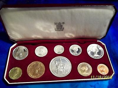 1953 Great Britain Queen Elizabeth Ii Coronation Proof 10 Coin Set Royal Mint