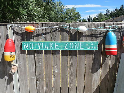 48 Inch Wood Hand Painted No Wake Zone 5Mph Sign Nautical Seafood (#s834)