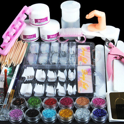 Acrylic Powder Glitter Nail Brush Files Deco Nail Art Tools Kit Tips Set UK