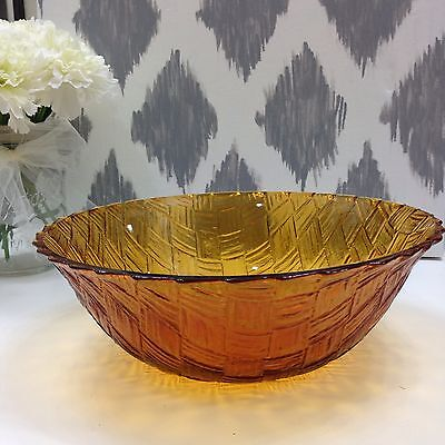 Vintage Amber Carnival Glass Basket Weave Serving Bowl