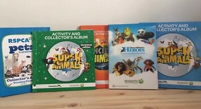 5 x Woolworths RSPCA Collector Trading Cards Albums + Cards / Pets Super Animals