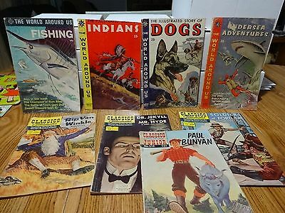 Lot Of 8 Classics Illustrated And World Around Us Dogs, Fish Etc Etc Orig Owner