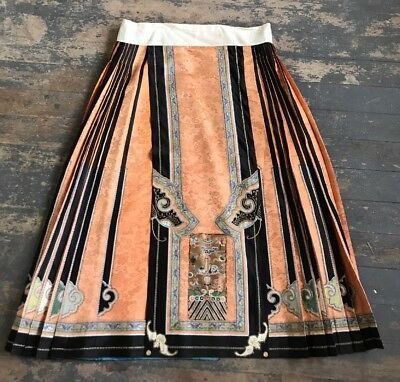 Antique Qing Dynasty Hand Embroidered Chinese Wedding Skirt Gold Embroidery