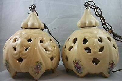 VTG Pair Hand Painted Ceramic Hanging Light Fixtures Floral Pendant Chandeliers