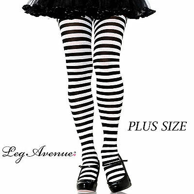 Alice in Wonderland Black White Stripe LADIES Tights Costume stockings Plus Size
