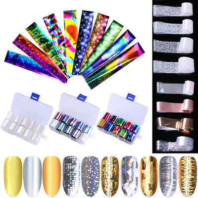 Nail Foils Stickers Decals Flower Holographic Starry Sky 3D Nail Art Decoration