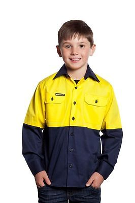 NEW KIDS WORK SHIRT Hi Vis Two Tone Long Sleeve Shirt GREAT  GIFT IDEA