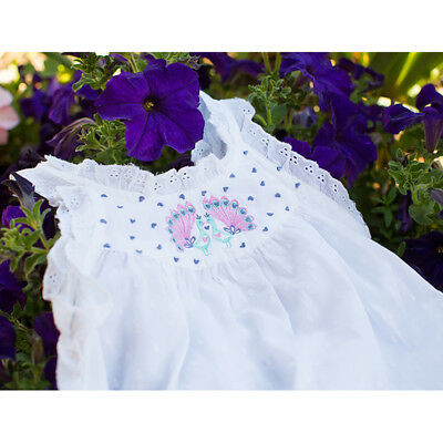 NEW Girls Peacock White Cotton Nightie Sizes 4 to 12 yrs by uh-oh!