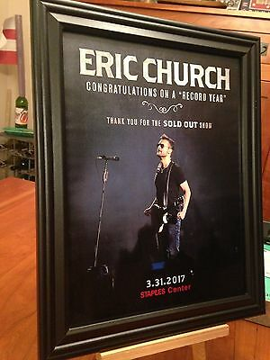 "BIG 10x13 FRAMED ERIC CHURCH ""LIVE IN LOS ANGELES '17"" TOUR LP ALBUM CD PROMO AD"