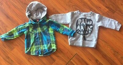 Boys Size 2 Jumper And Shirt - Quiksilver, Freddy Alphabet