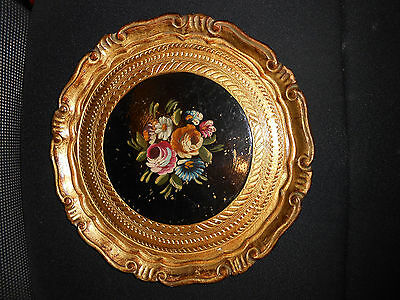 Antique Hand Carved, Gilded, and Painted Florentine Tray