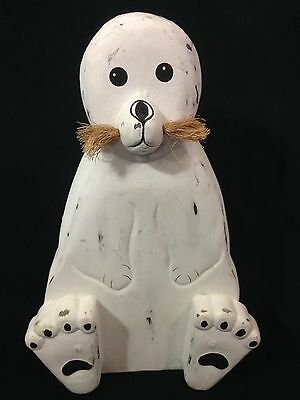 """Pier1 - Distressed BABY SEAL Carved Wood 10"""" White Nautical Sea Life Decoration"""