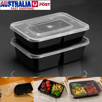 10Pcs Microwave Safe Meal Prep Containers Plastic Food Storage Lunch Box + Lid