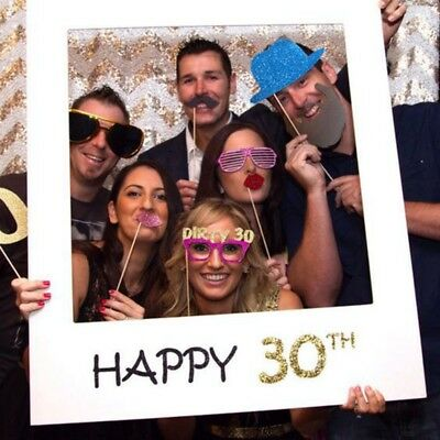 1pc Frame Photo Booth Props 30th Happy Birthday Paper Party Supply Accessory