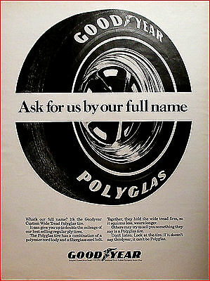 "1969 Goodyear ""Polyglas"" Tires Vintage Car/Truck Tires Art Print AD"