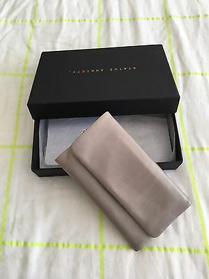 Status Anxiety Audrey Wallet Grey Large Genuine Leather Purse Clutch Current