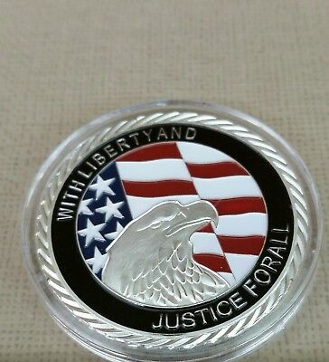 40mm 911 JUSTICE FOR ALL .999 FINE SILVER LAYERED COIN IN CAPSULE BRAND NEW