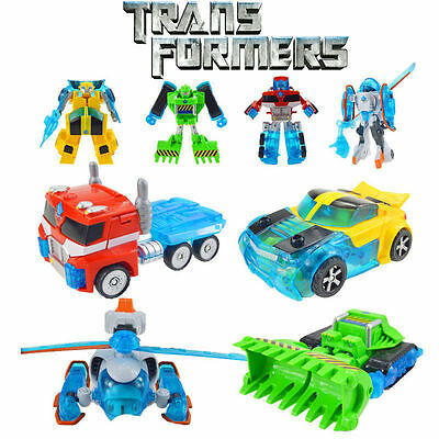 4 Transformers Rescue Bots Optimus Prime Boulder Blades Bumblebee The Copter Toy