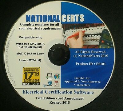 ELECTRICAL CERTIFICATES, SOFTWARE FULLY AMENDED 17th ED Genuine Product.