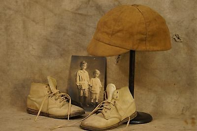 1920-30's Child's Baseball Cap (short bill), Leather Shoes & Photograph