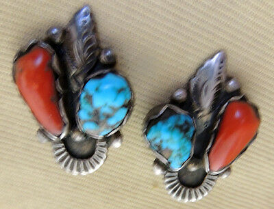 Zuni attr Dan Simplicio Earrings Coral Turquoise Clip-on Sterling Silver .925