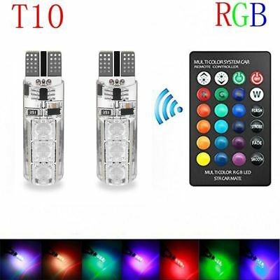 2X T10 5050 6 SMD RGB LED Car Dome Reading Light Lamp Bulb With Remote Control