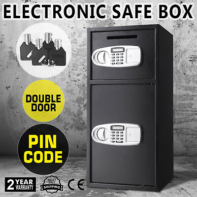 Double Door Digital Security Deposit Drop Box Safe Depository Jewelry Electronic