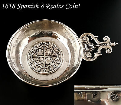 Antique Sterling Silver Wine Tasting Cup Tastevin 1618 Spanish 8 Reales Coin