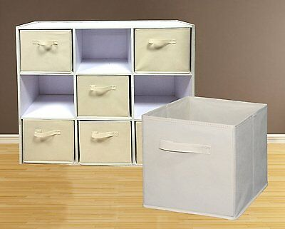 6 Pack Foldable Fabric Cloth Storage Cube Basket Bins Organizer Container Drawer