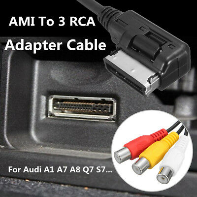 AMI MMI 3 RCA Phono Audio AV Composite Video Cable Lead For Audi A1 A7 A8 Q7 S7