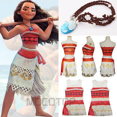 Moana Princess Fancy Dress Costume Girl's Kids Costume Sleeveless Dress Necklace