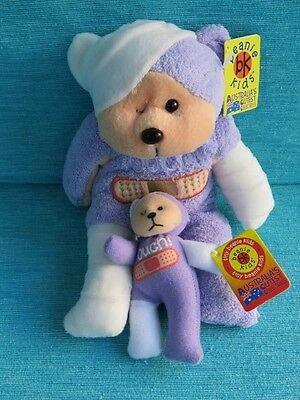 Beanie Kids - Ouch The Bear Bk 354 + Mini/tiny Gift Soft Retired Plush Skansen