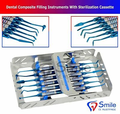 Dental Composite Filling Instruments Blue Titanium With Free Sterilization Tray