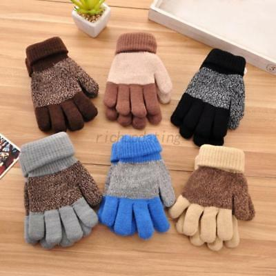 2-8Y Toddler Boys Girls Warm Xmas Gloves Baby Kids Stretchy Wool Knitted Mittens