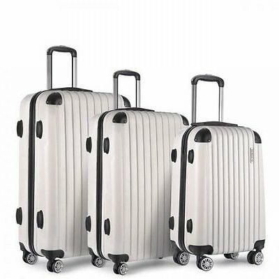 "NEW 3pcs Lightweight Hard Shell Travel Case Luggage 20"" 24"" 28"" White w TSA Lock"