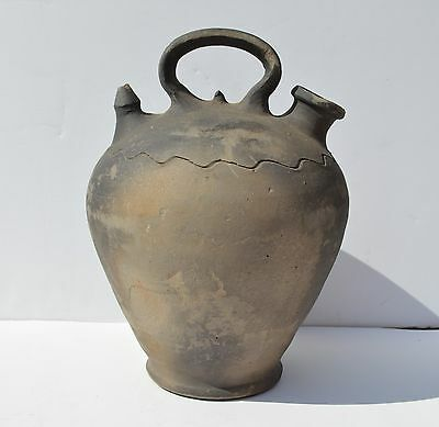 Country Primitive/antique Black Clay Stoneware Water Jug As Found Condition.