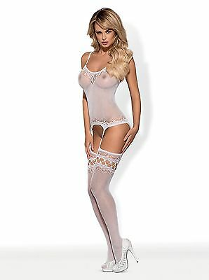Bodystocking F214 weiß Obsessive 36 38 40 Catsuit Netzmaterial