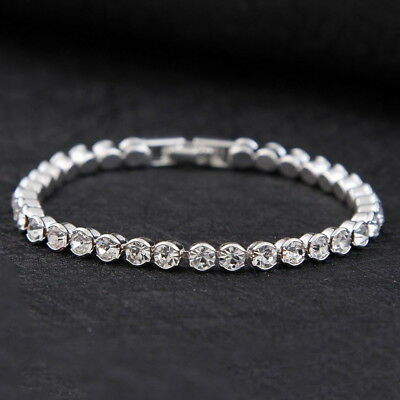 Silver Plated Tennis Bracelet made with Swarovski Crystal Bling Diamond Party