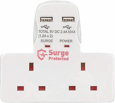 Double Gang Electrical Plug wall Socket Adaptor 2 USB Outlets Electric Charger