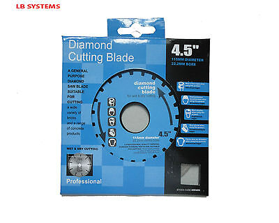 "4.5"" 115Mm Long Lasting Diamond Saw Cutting Disc Blade Blade 22.2 Centre Bore"