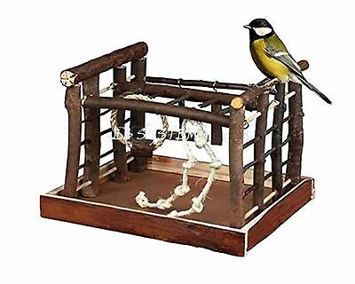 Bird Play Ground Natural Wood & Cedar Indoor Budgie Canary Ladder Ropes Swing