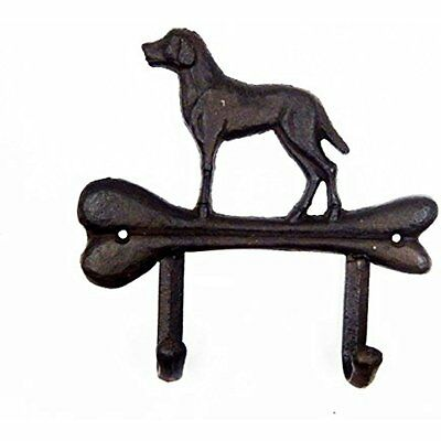 """Comfy Hour 6"""" Cast Iron Dogs Double Key Hooks Clothes Rack Key Chain Wall Hanger"""