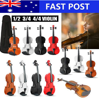1/2 3/4 4/4 Full Size Natural Acoustic Violin Beginner With Case + Bow + Rosin