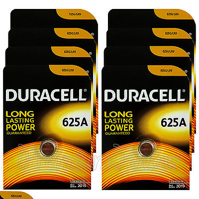 8 x Duracell Alkaline 625A 1.5V batteries 625G LR9 EPX625 E625G Key fob EXP:2019