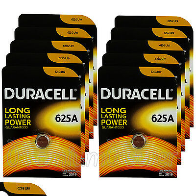 10 x Duracell Alkaline 625A 1.5V batteries LR9 EPX625 E625G Key fob EXP:2019