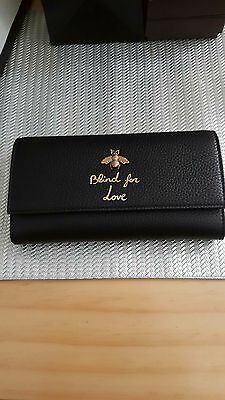 """Gucci Wallet Black AUTHENTIC Brand New Limited Addition """"Blind for Love"""""""
