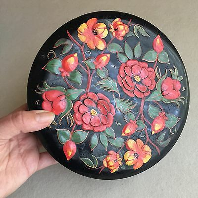 Old VINTAGE Lithograph CAMELLIAS Floral RELIEF Tripod FOOTED Metal TIN ~Numbered