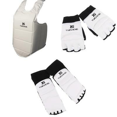 Karate Chest Guard & PU Boxing Gloves & Foot Guards Taekwondo Sparring Gear