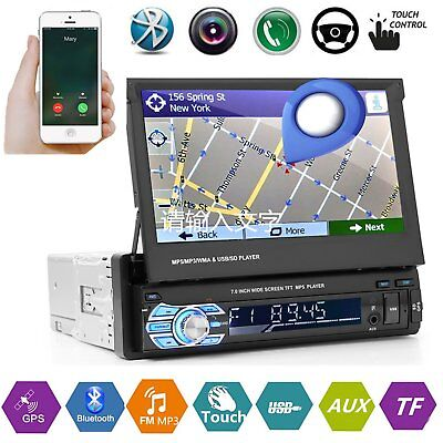 """7"""" 1Din Car Stereo Radio GPS Navigation Touch MP3 MP5 Bluetooth Player AUX FM UK"""
